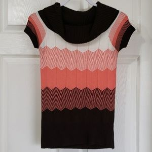 BCX | pink, white, and brown blouse small